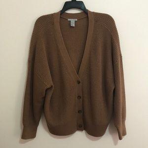 brown teddy knit cardigan